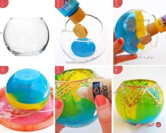 مراحل رنگ کردن شیشه