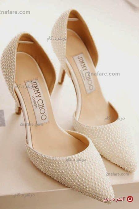 مدل کفش عروس با پاشنه کوتاه