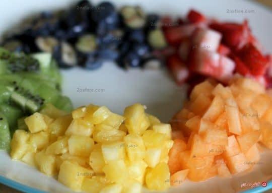 میوه های خرد شده برای بستنی یخی