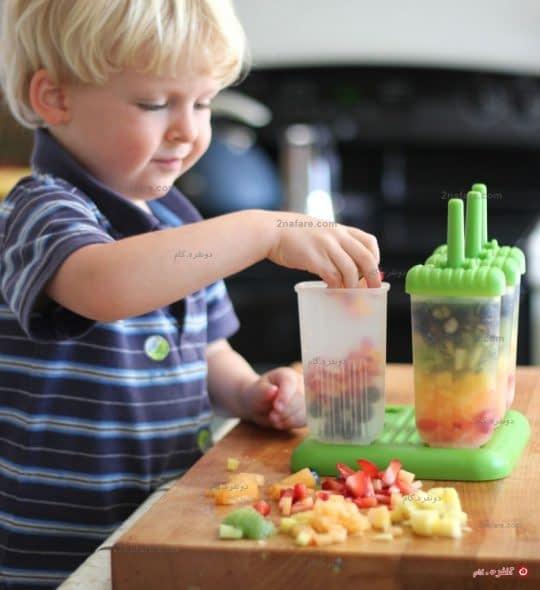 چیدن میوه ها در قالب بستنی