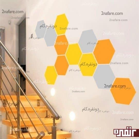 تزیین دیوار با طرح کندوی عسل