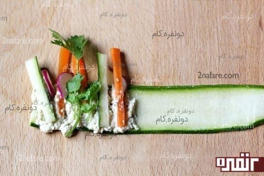 سبزیجات رو ابتدای ورقه بچینید