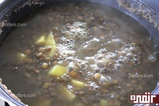 پختن عدس و سیب زمینی