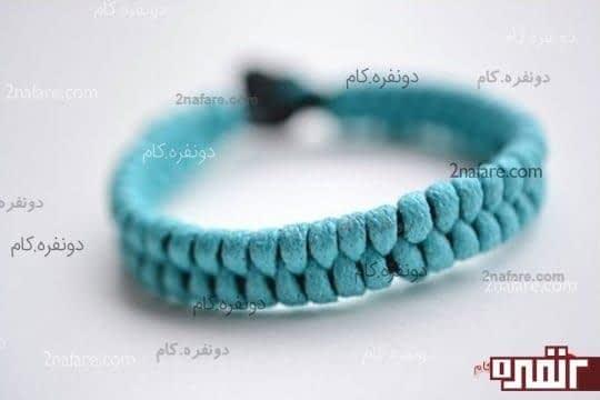 دستبند بافت فیروزه ای