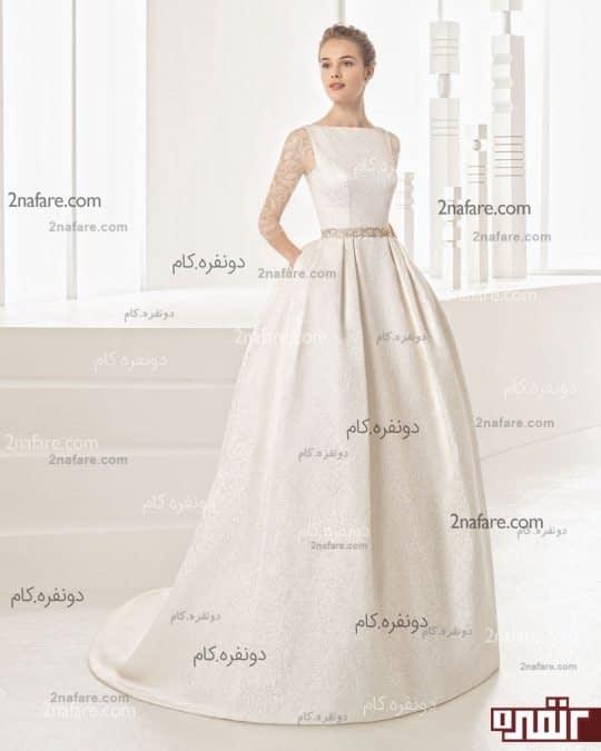 لباس عروس دنباله دار پشن باز