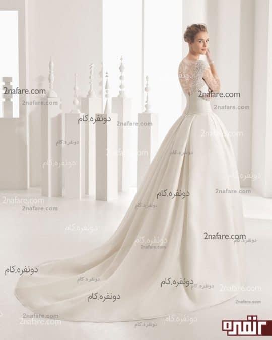 لباس عروس زیبا با دامن پفی ساده
