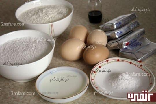 مواد لازم برای تهیه کیک اسفنجی ویکتوریا