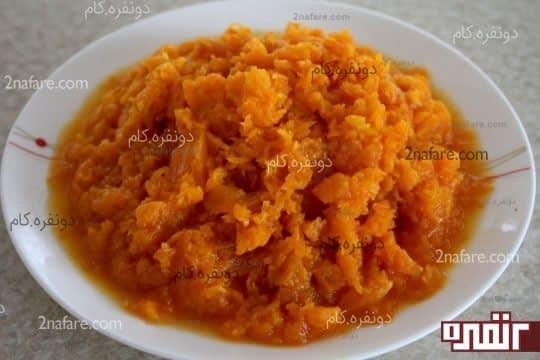 هویج پخته و رنده شده