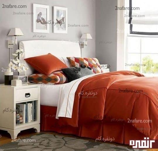 انتخاب رنگ طوسی و نارنجی در اتاق خواب