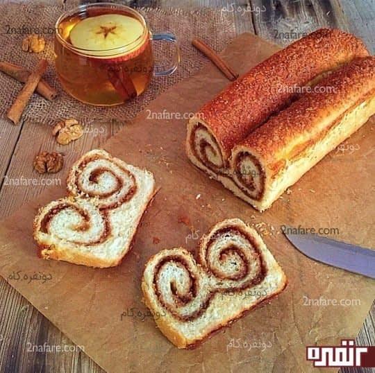 نان رولی کره ای با گردو و شکرقهوه ای