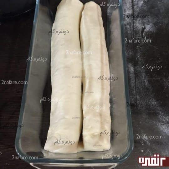 خمیر نان قبل از استراحت و حجیم شدن