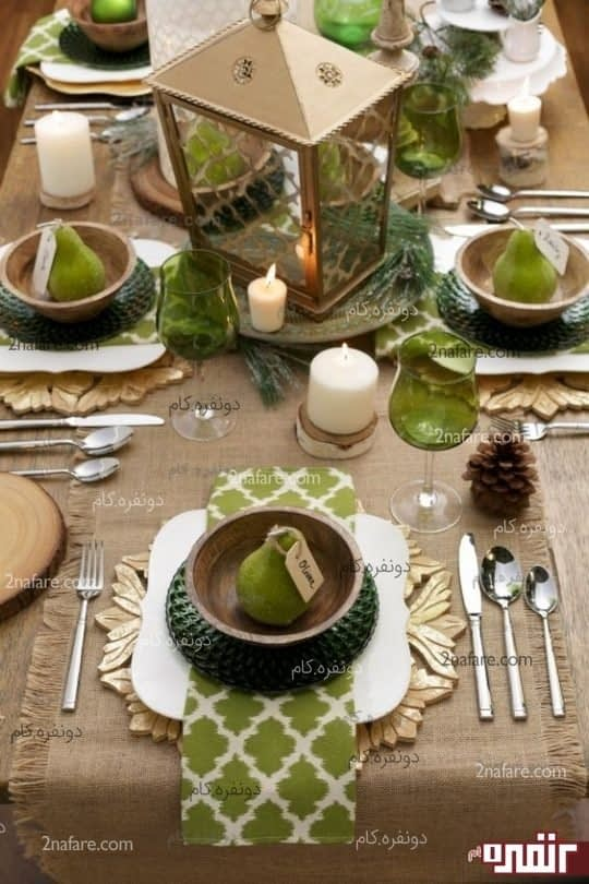 یک رانر کرباس بافت به همراه یک هارمونی سبز رنگ مهمان های شما را به وجد خواهد آورد