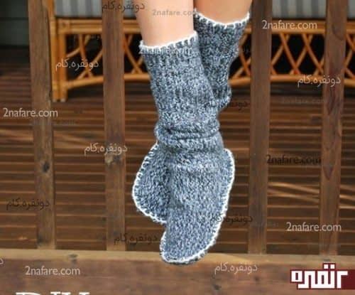 دوختن جوراب های ساق بلند با لباس های بافت