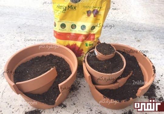 آموزش ساخت باغچه با گلدان شکسته