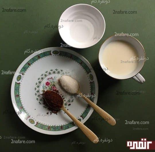 مواد لازم برای تهیه قهوه فوری غلیظ و خامه ای