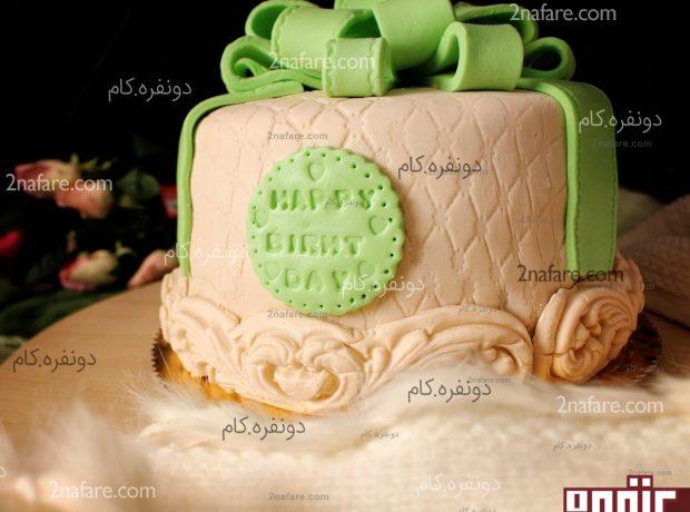 کیک فوندانت جعبه کادو