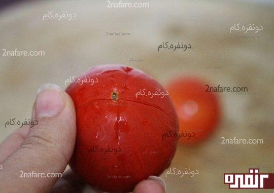 ایجاد یک + بزرگ روی گوجه فرنگی