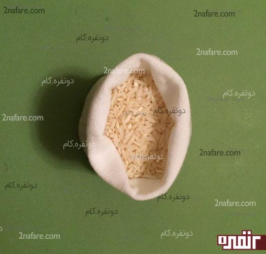 پر کردن جوراب با برنج