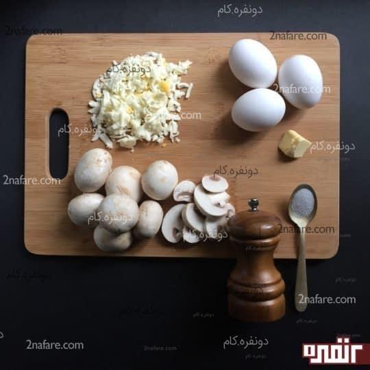 مواد لازم برای تهیه املت رولی قارچ و پنیر