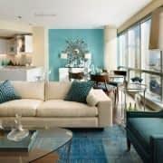 اتاق نشیمن آبی و قهوه ای