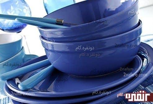 از ظروف آبی استفاده کنید