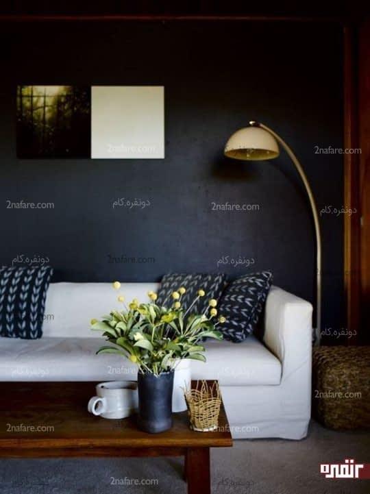 دکوراسیون اتاق نشیمن با استفاده از رنگ های تیره
