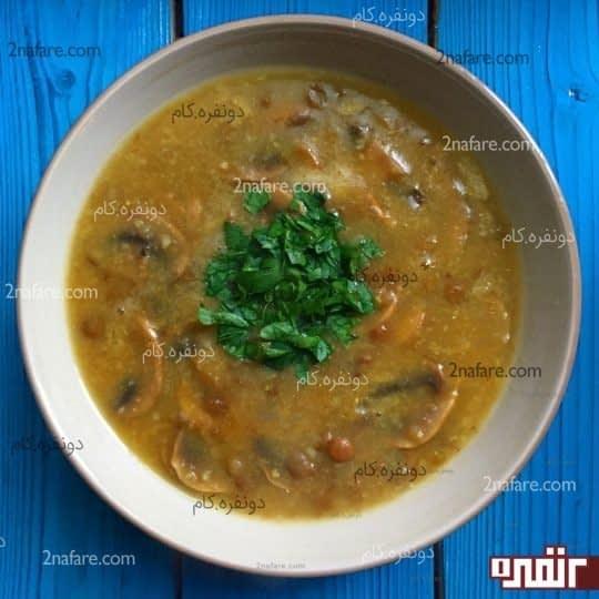 سوپ عدس و قارچ