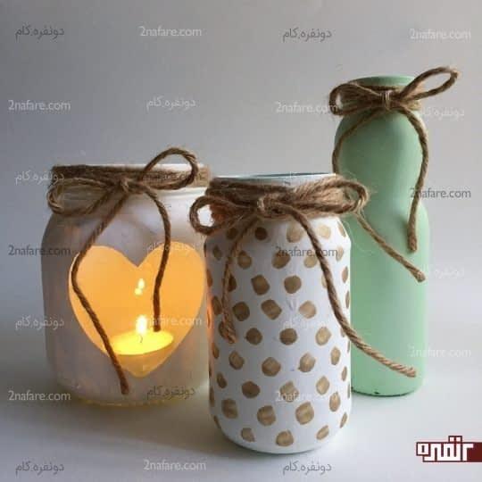 ساخت جاشمعی و گلدان با شیشه های مربا و ترشی