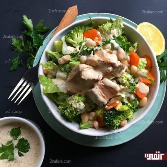سالاد تن ماهی و لوبیا سفید