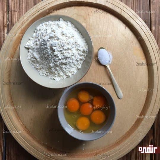 مواد لازم برای تهیه پاستا با خمیر خونگی