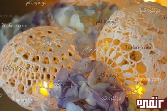 جاشمعی های زیبا با استفاده از رومیزی های قلاب بافی