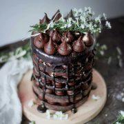 کیک تزیین شده با گاناش