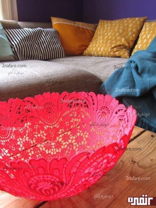 کاسه های قلاب بافی در رنگ های زیبا