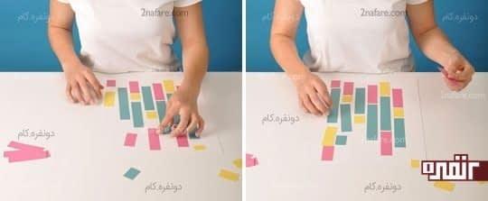 چسباندن مستطیل های رنگی روی کاغذ اصلی
