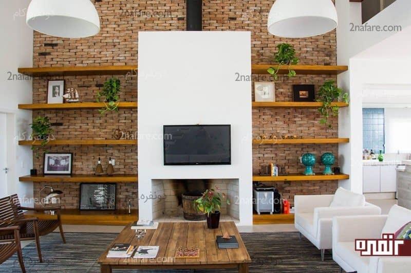 ایده هایی برای طراحی دیوار پشت تلویزیون • دونفره