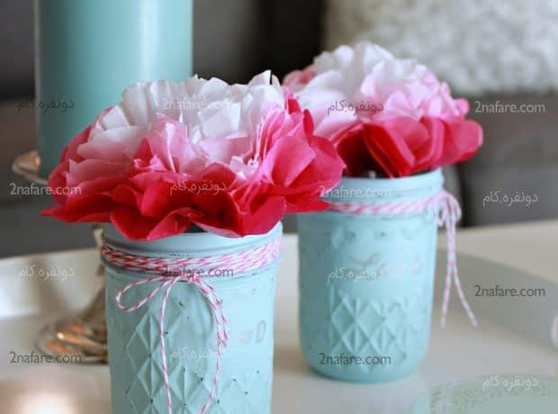 تزئين گلدان هاي شيشه اي