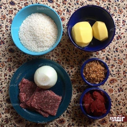 مواد لازم برای تهیه استامبولی با کوفته قلقلی
