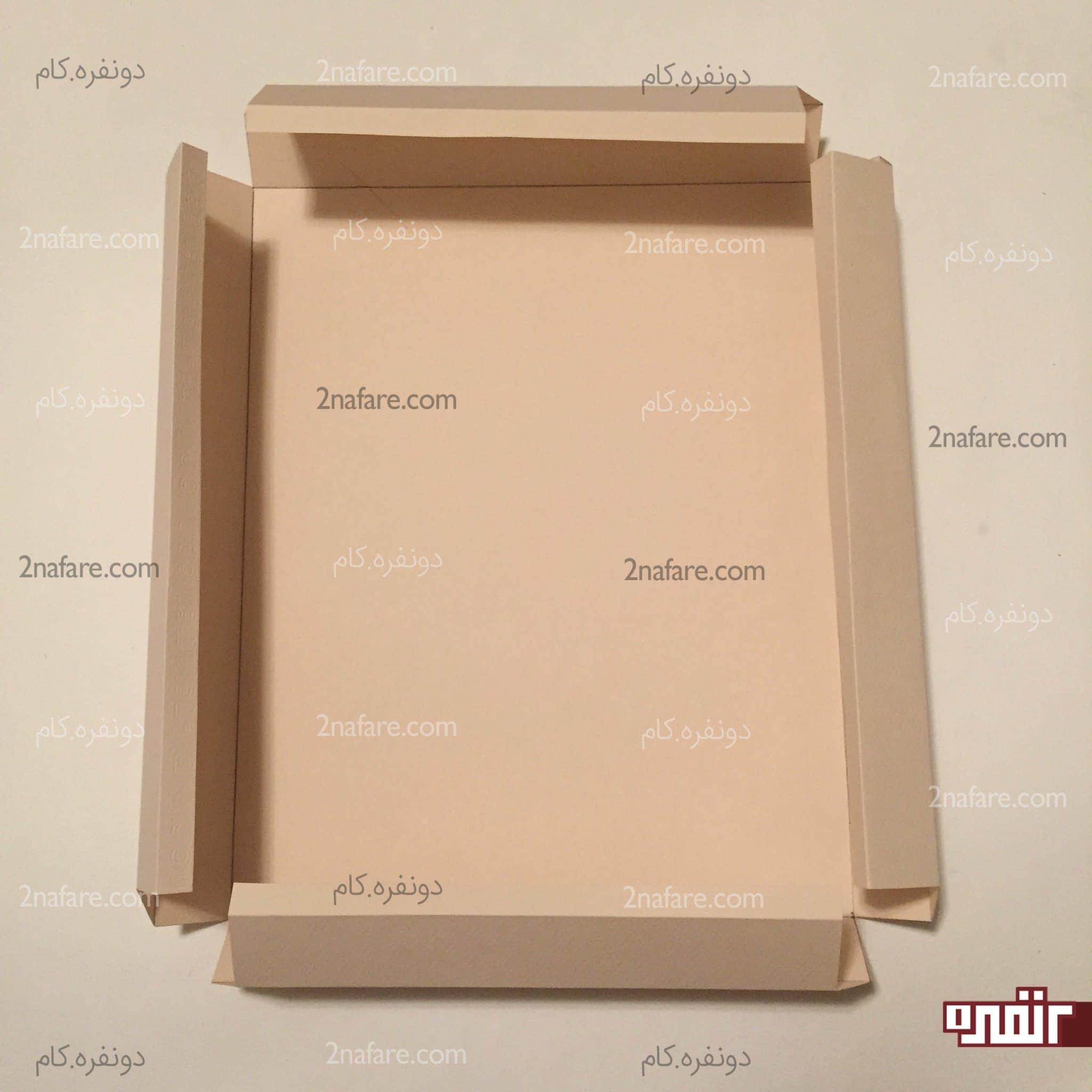 الگو کشیده شده جعبه مکعب آموزش ساخت جعبه شیرینی و شکلات مخصوص عید • دونفره