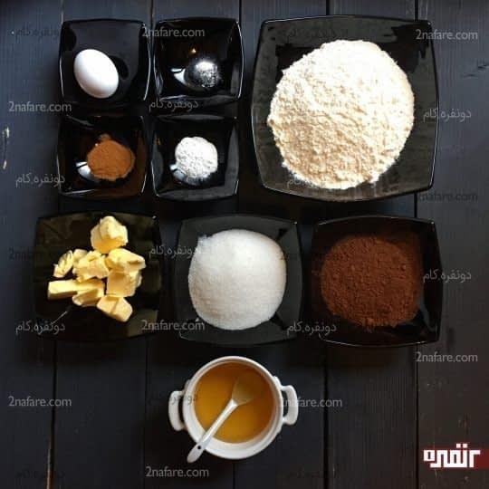 مواد لازم برای تهیه بیسکوییت کاکائویی با روکش شکلات