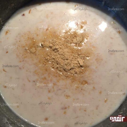اضافه کردن شیر و قرص گوشت