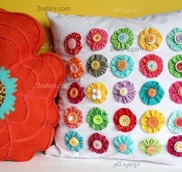 تزئین روکوسنی با گل ها و دکمه های رنگارنگ