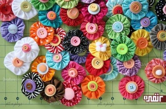 گل های پارچه ای رنگارنگ