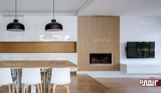استفاده از چوب در دیواره ی شومینه