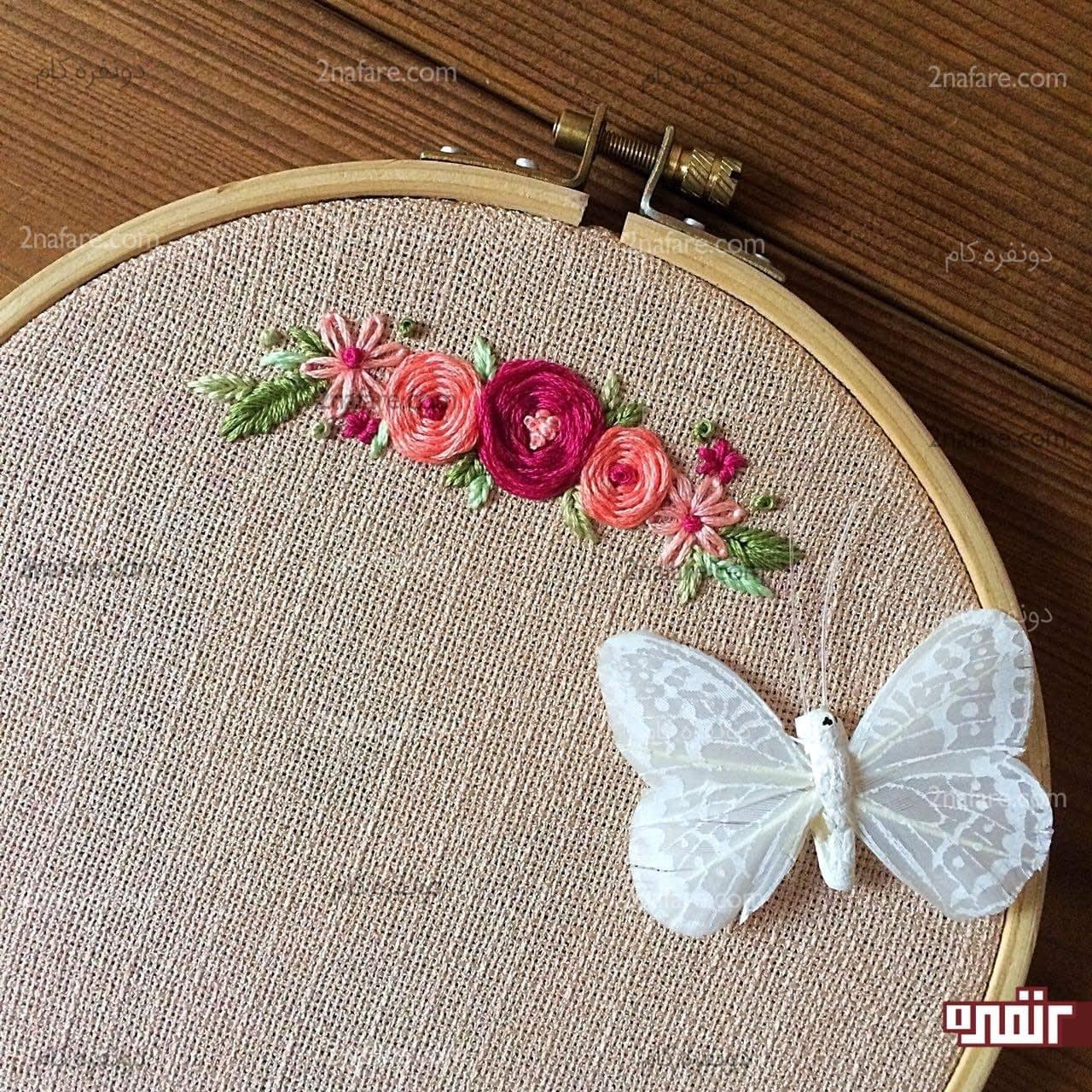 طرح گل نمدی طرح رومیزی آموزش مرحله به مرحه گلدوزی روی لباس طرح یاس و رز • دونفره