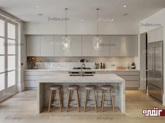 آشپزخانه ای مدرن با سنگ مرمر