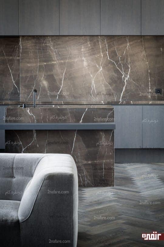 سنگ مرمر مشکی در دیزاین اشپزخانه