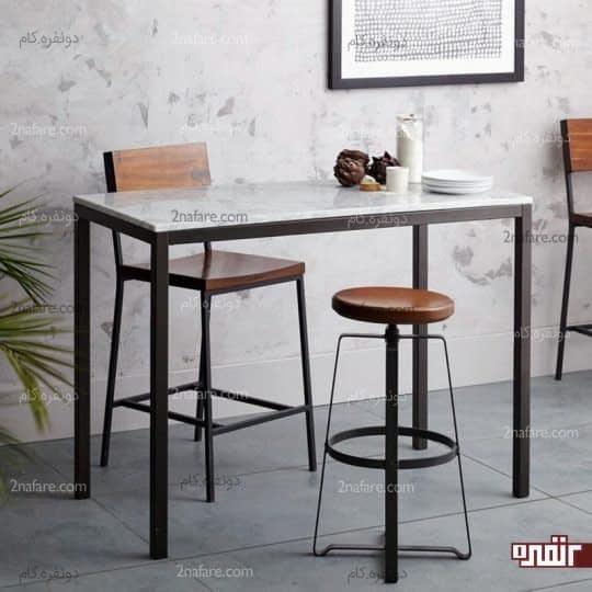 ترکیب فلز و سنگ مرمر در میز غذاخوری