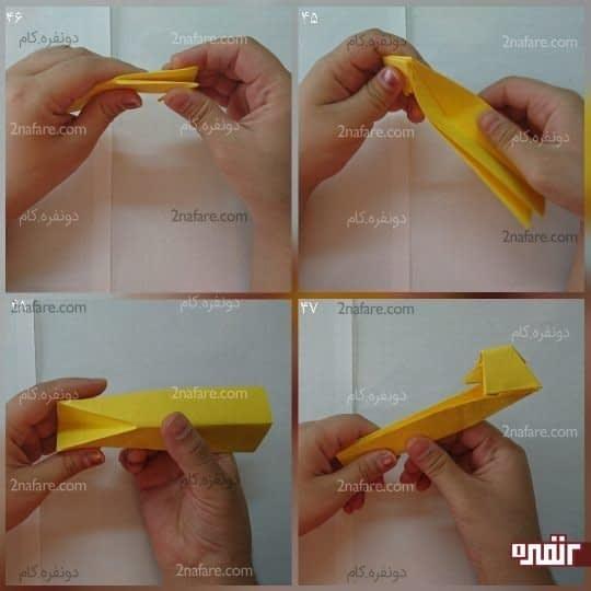 دو لایه مستطیل را که تا کردید، مانند شکل مستطیل را از روی خط تا به سمت سر اردک ببرید