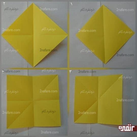 مربع را از دو طول و دو قطر تا کنید