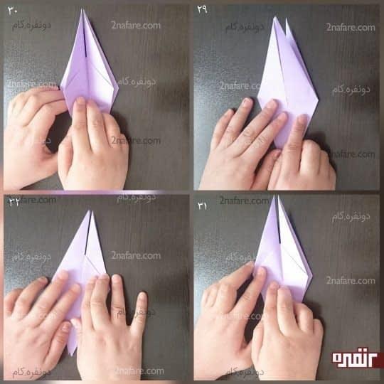کار را برگردانید، که در سمت راست سه لایه قرار دارد و در سمت چپ یک لایه